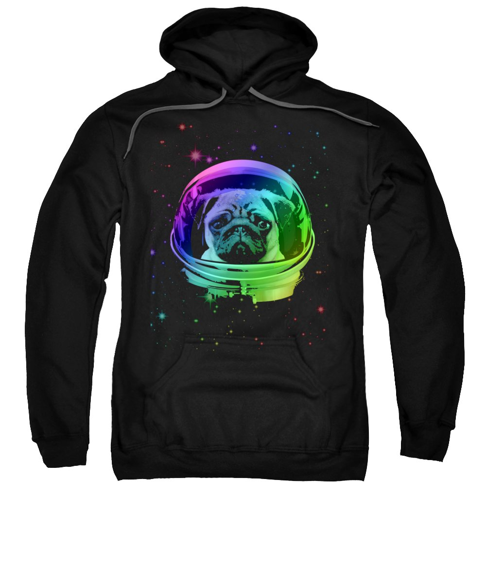Pug Sweatshirt featuring the mixed media Space Pug by Filip Schpindel