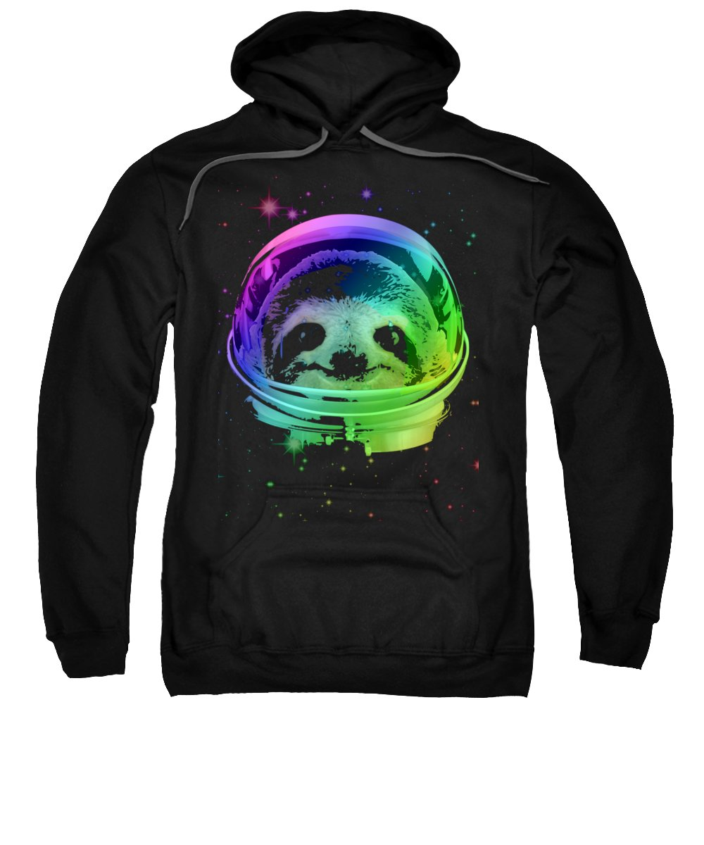 Sloth Sweatshirt featuring the mixed media Space Sloth by Filip Schpindel