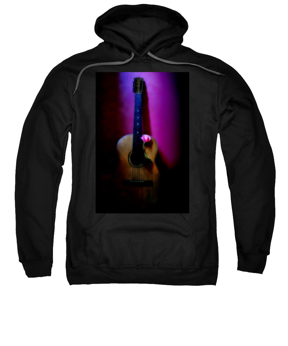 Spanish Sweatshirt featuring the photograph Spanish Guitar And Pink Rose by Bill Cannon