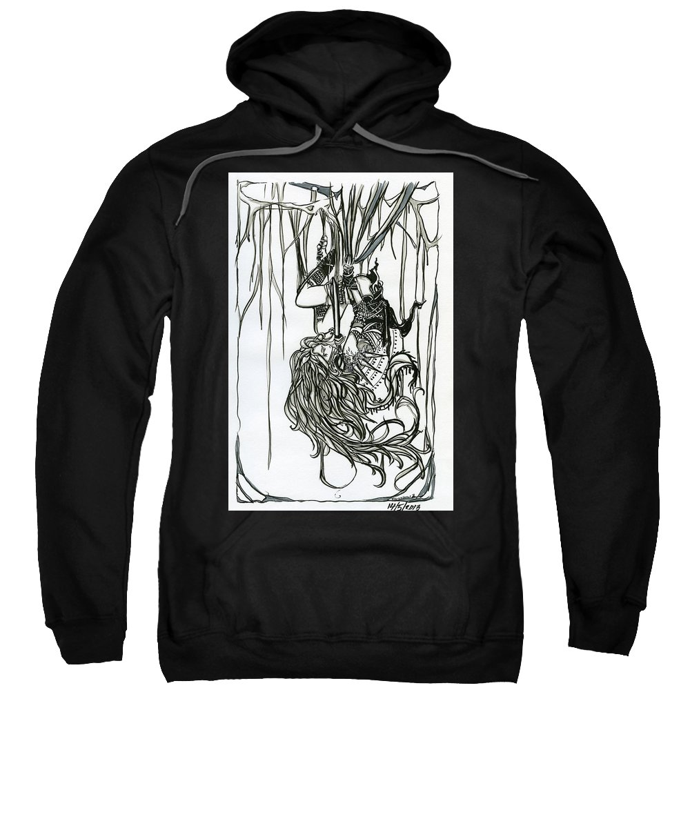 Thief Sweatshirt featuring the drawing Spiderweb by Kita Liosatos