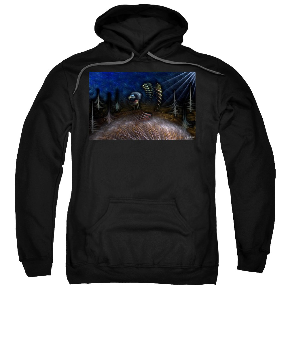 Abstract Sweatshirt featuring the digital art Spirit Of A Duck by Casey Kotas