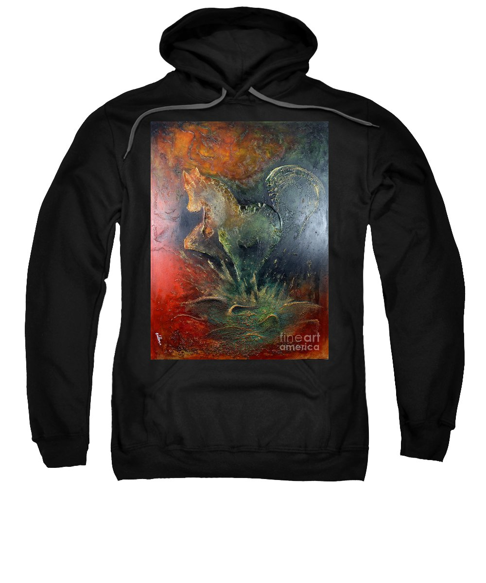 Horse Sweatshirt featuring the painting Spirit Of Mustang by Farzali Babekhan