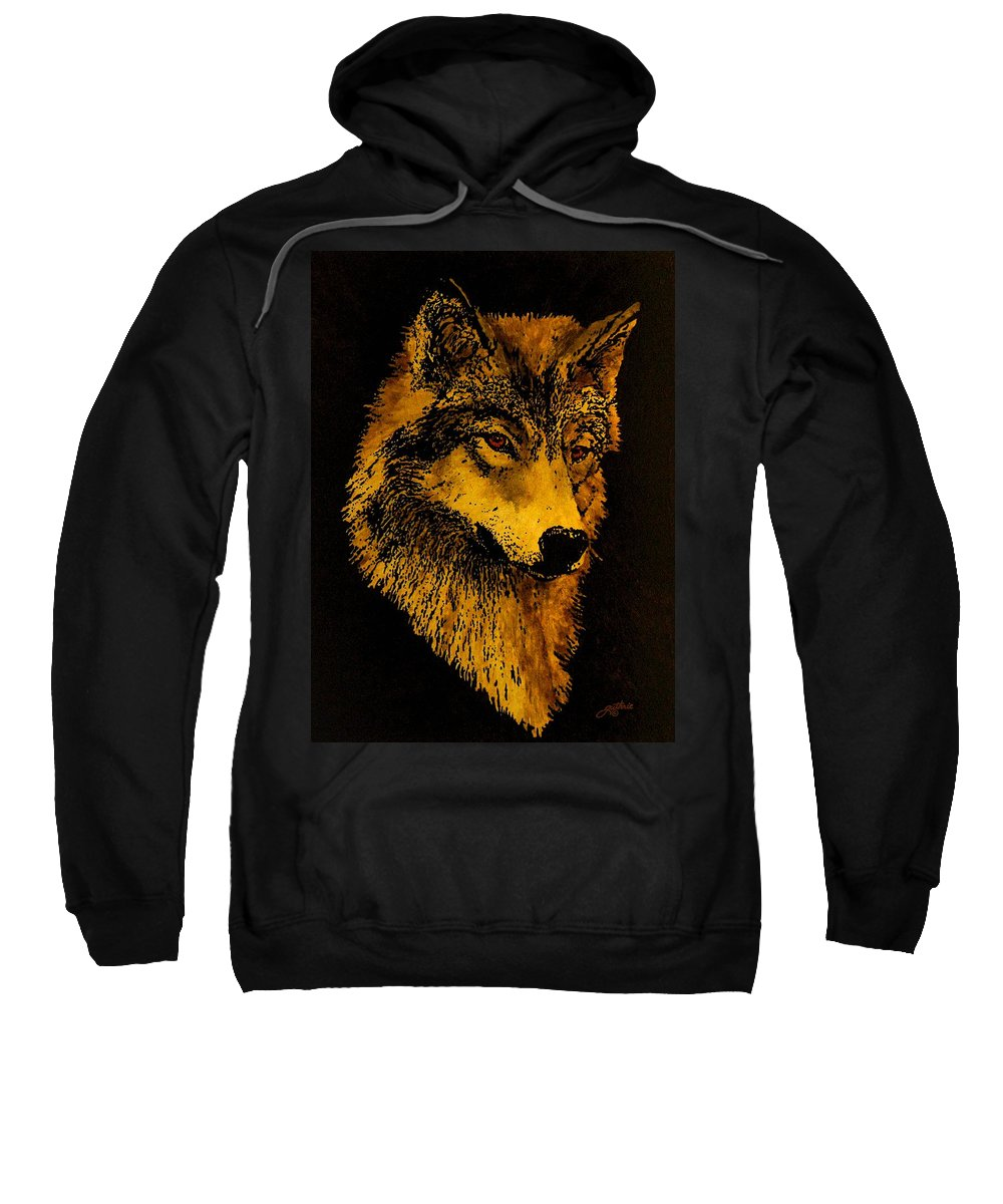 Wolf Sweatshirt featuring the painting Spirit Wolf by John Guthrie