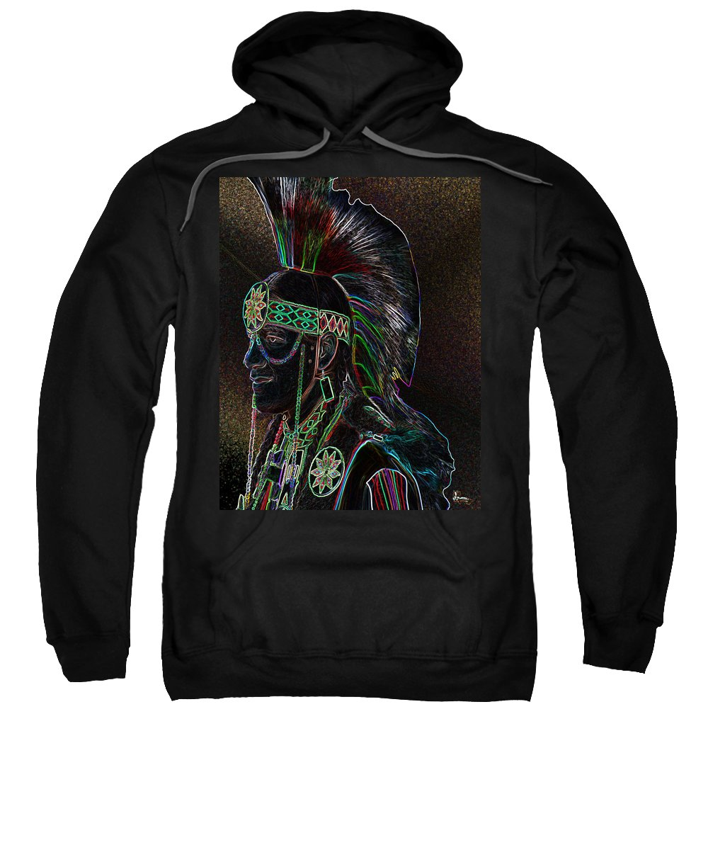 Native Art Indian Head Dress Warrior Dancer Beads Neon Wardrobe Sweatshirt featuring the photograph Spirited by Andrea Lawrence