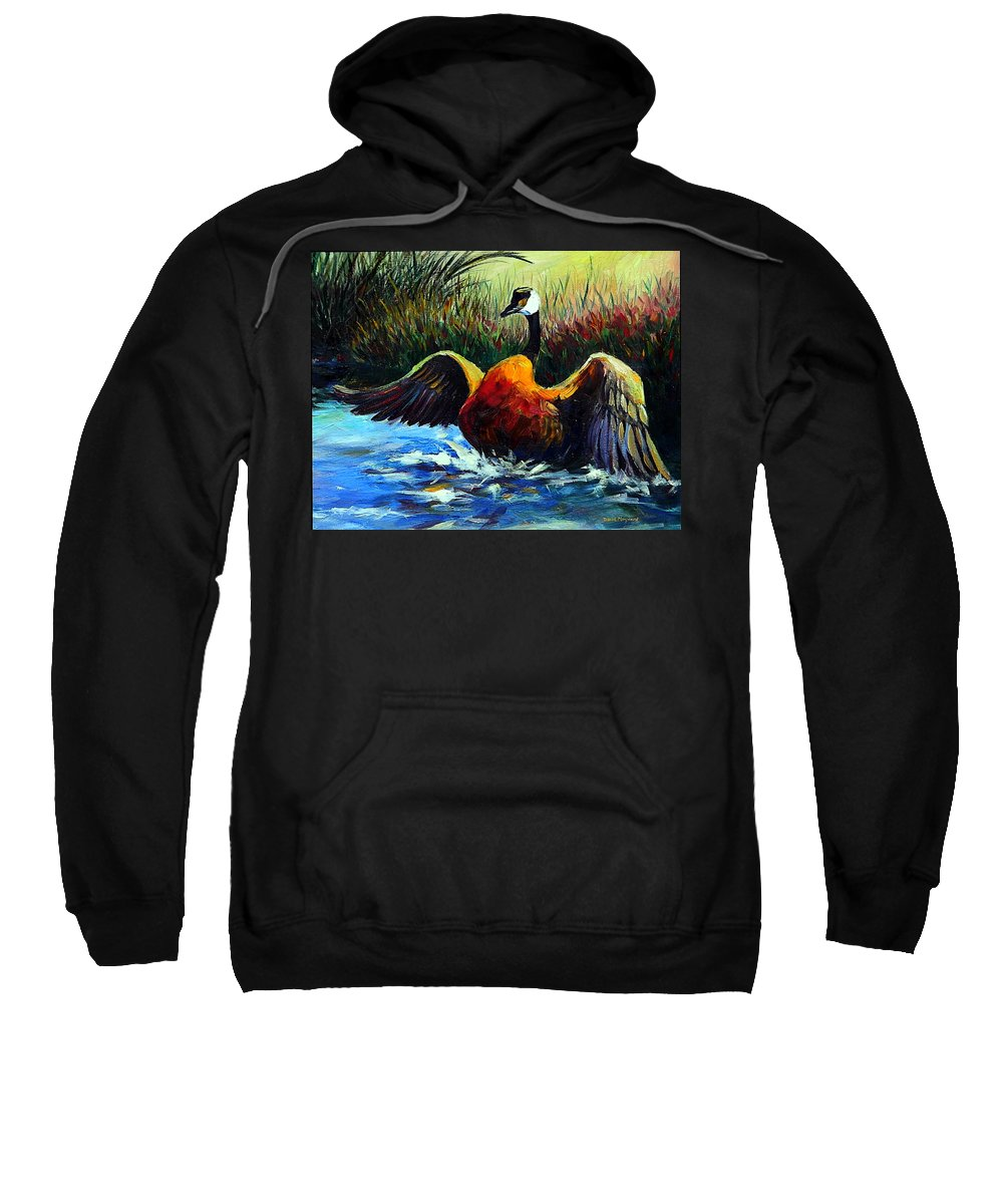 Wildlife Sweatshirt featuring the painting Splash Dance by David Maynard