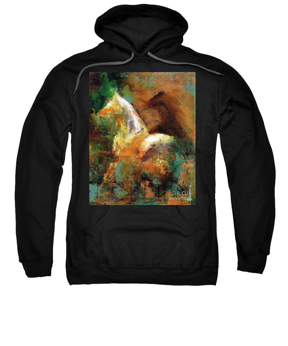 Abstract Horse Sweatshirt featuring the painting Splash Of White by Frances Marino