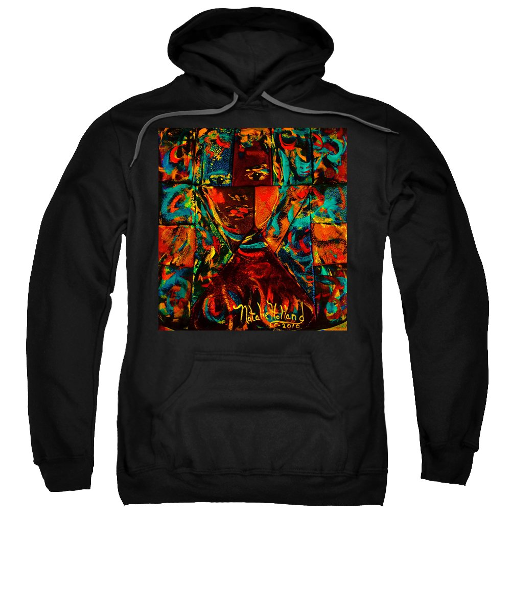 Abstract Sweatshirt featuring the mixed media Split Personality by Natalie Holland