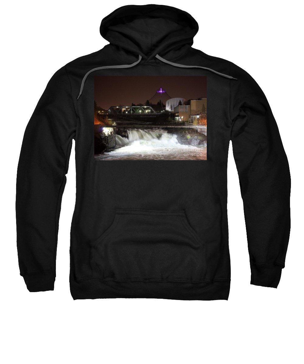 Spokane Sweatshirt featuring the photograph Spokane Falls Night Scene by Carol Groenen