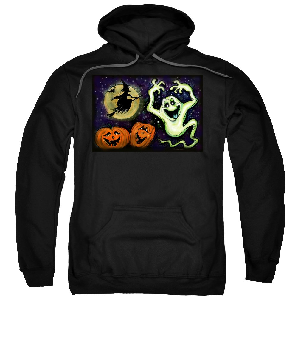 Halloween Sweatshirt featuring the painting Spooky by Kevin Middleton