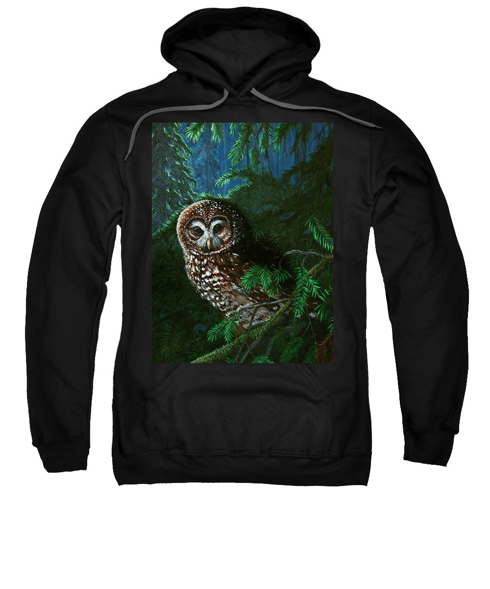 Owl Sweatshirt featuring the painting Spotted Owl In Ancient Forest by Nick Gustafson