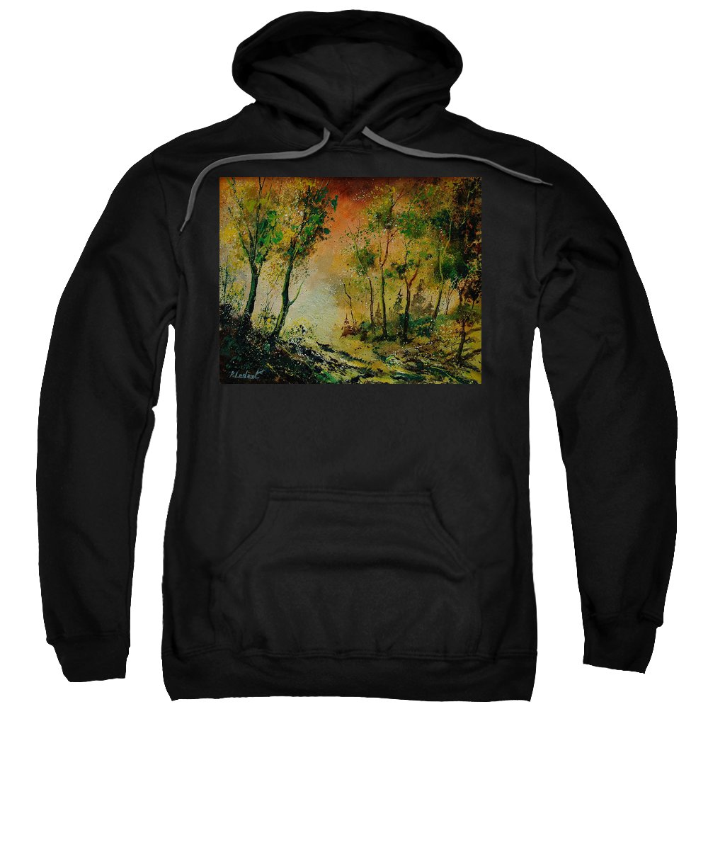 Spring Sweatshirt featuring the painting Sprin In Wood 45 by Pol Ledent