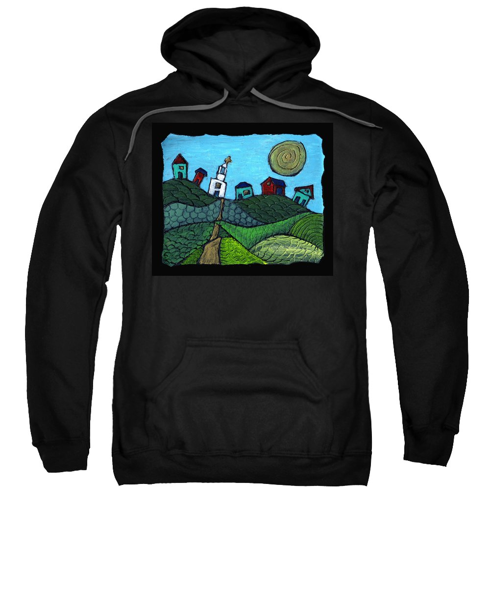 Whimsical Sweatshirt featuring the painting Spring Comes To The Valley by Wayne Potrafka