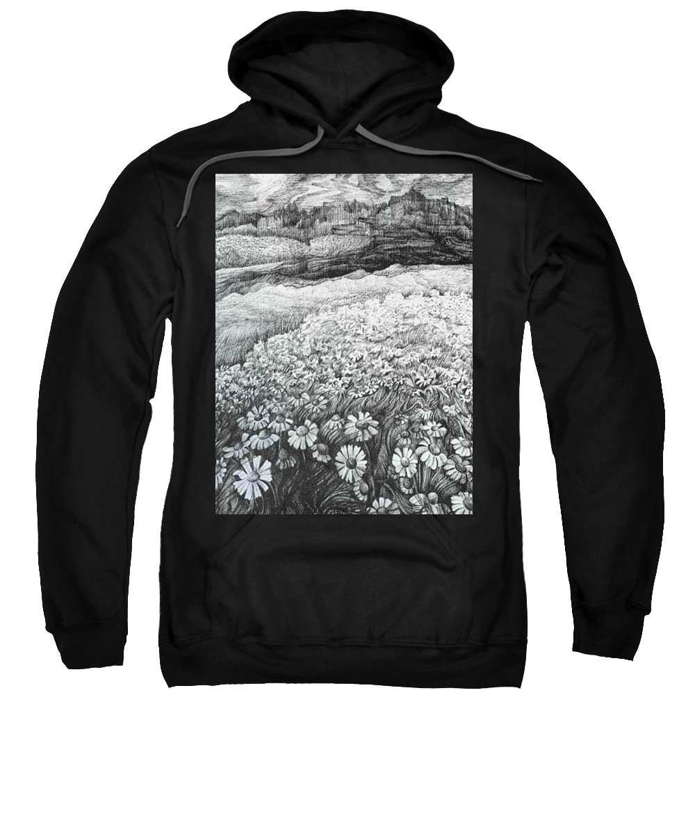 Flower Sweatshirt featuring the drawing Spring Flowers by Anna Duyunova
