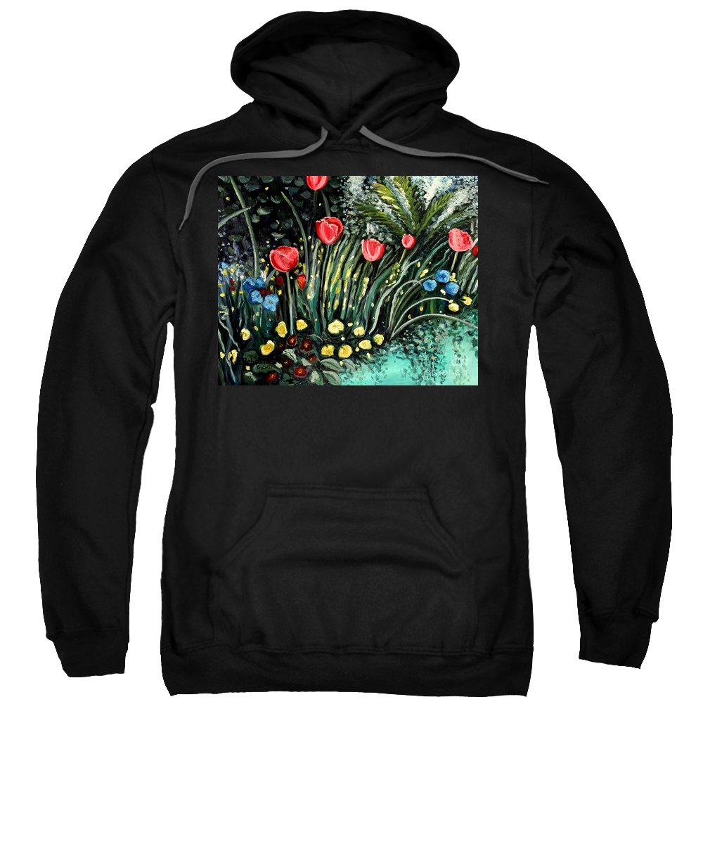 Impressionistic Sweatshirt featuring the painting Spring Garden by Elizabeth Robinette Tyndall