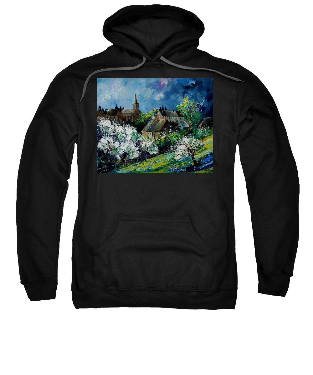 Spring Sweatshirt featuring the painting Spring In Fays Famenne by Pol Ledent