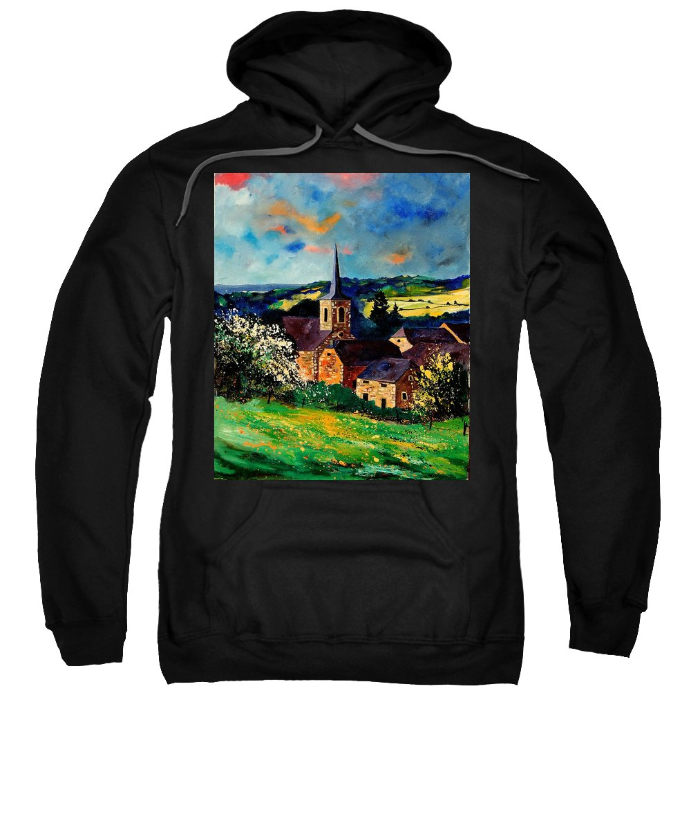 Spring Sweatshirt featuring the painting Spring In Gendron by Pol Ledent