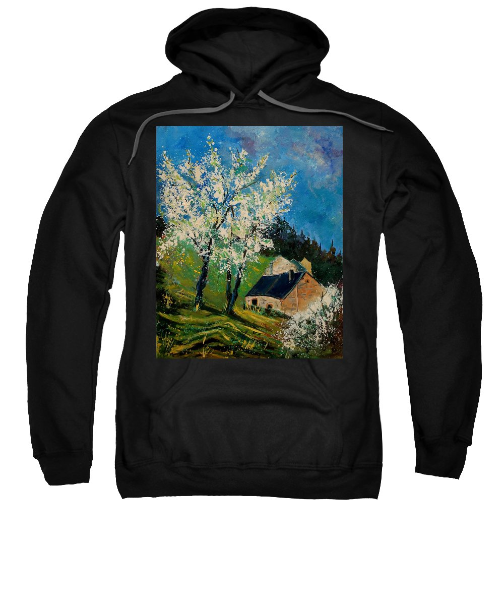 Spring Sweatshirt featuring the painting Spring In Hierges by Pol Ledent