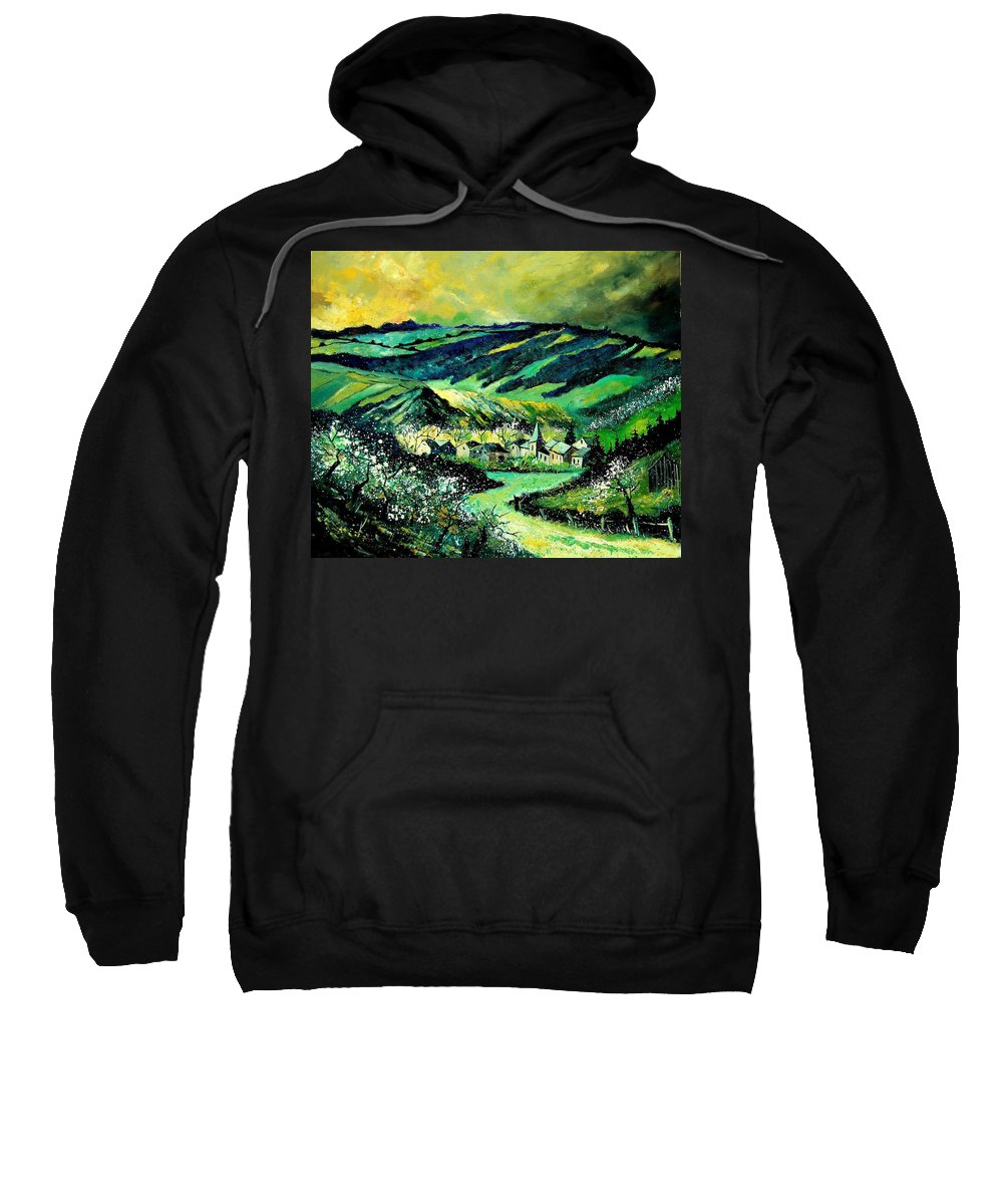 Landscape Sweatshirt featuring the painting Spring In Tha Ardennes by Pol Ledent