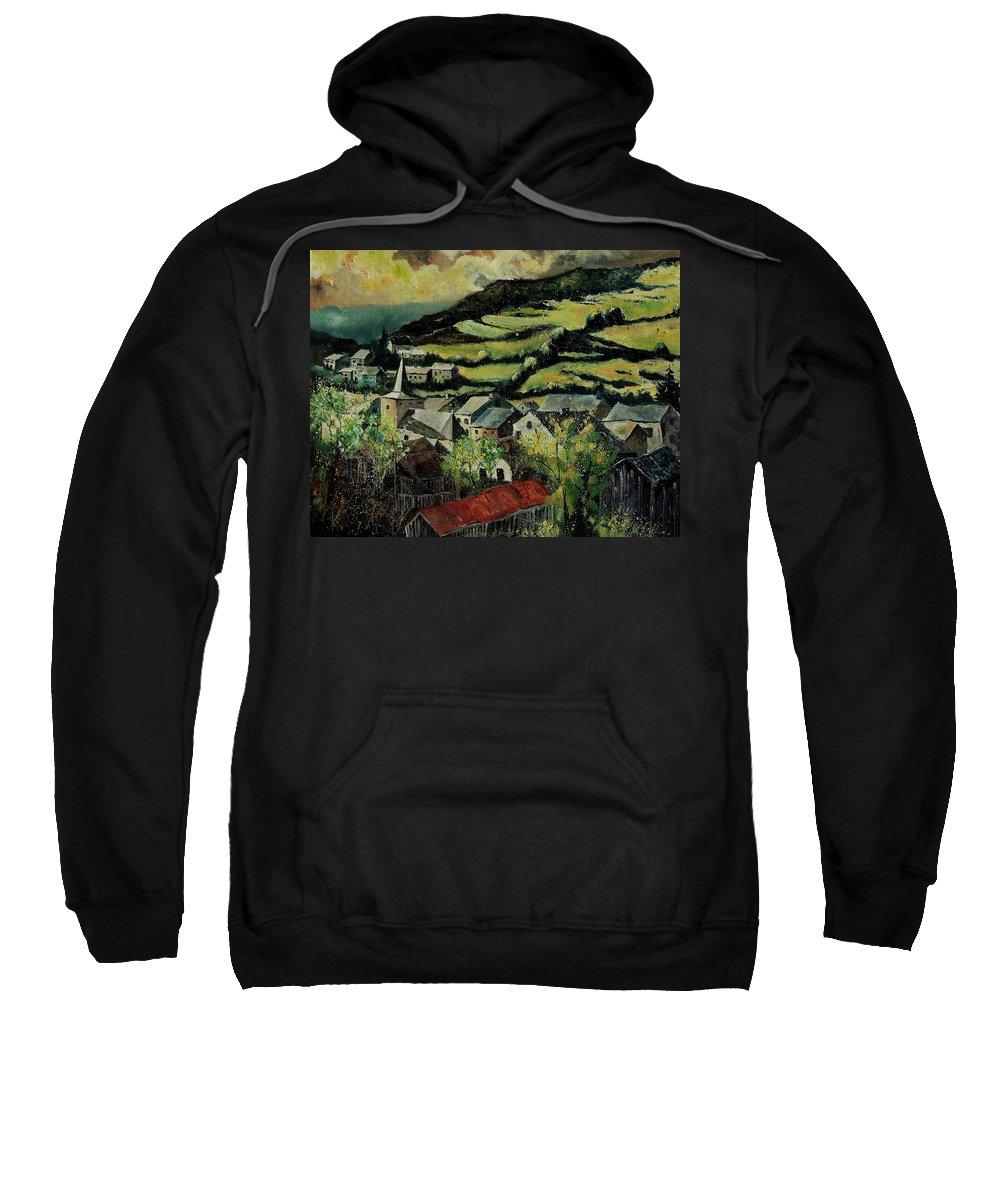 Spring Sweatshirt featuring the painting Spring In Vresse Ardennes Belgium by Pol Ledent