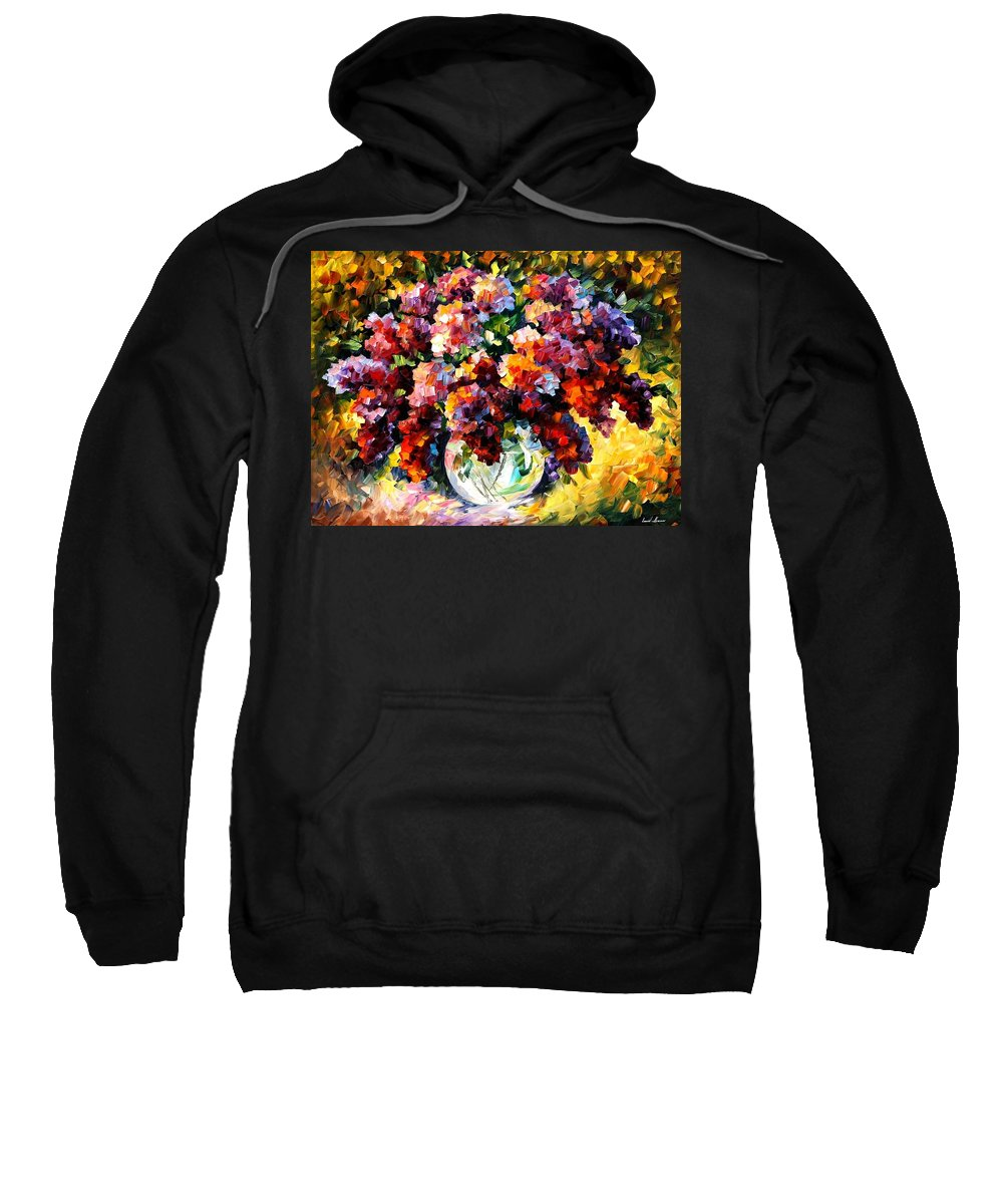 Afremov Sweatshirt featuring the painting Spring Lilac by Leonid Afremov