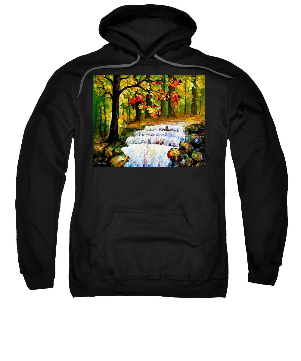 Art Gallery Sweatshirt featuring the painting Spring Stream - Palette Knife Oil Painting On Canvas By Leonid Afremov by Leonid Afremov