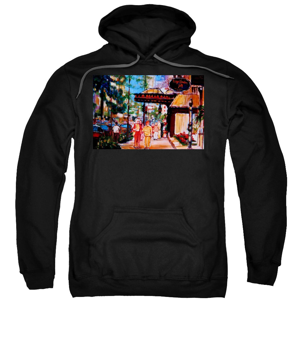 Montreal Streetscenes Sweatshirt featuring the painting Springtime At The Ritz by Carole Spandau