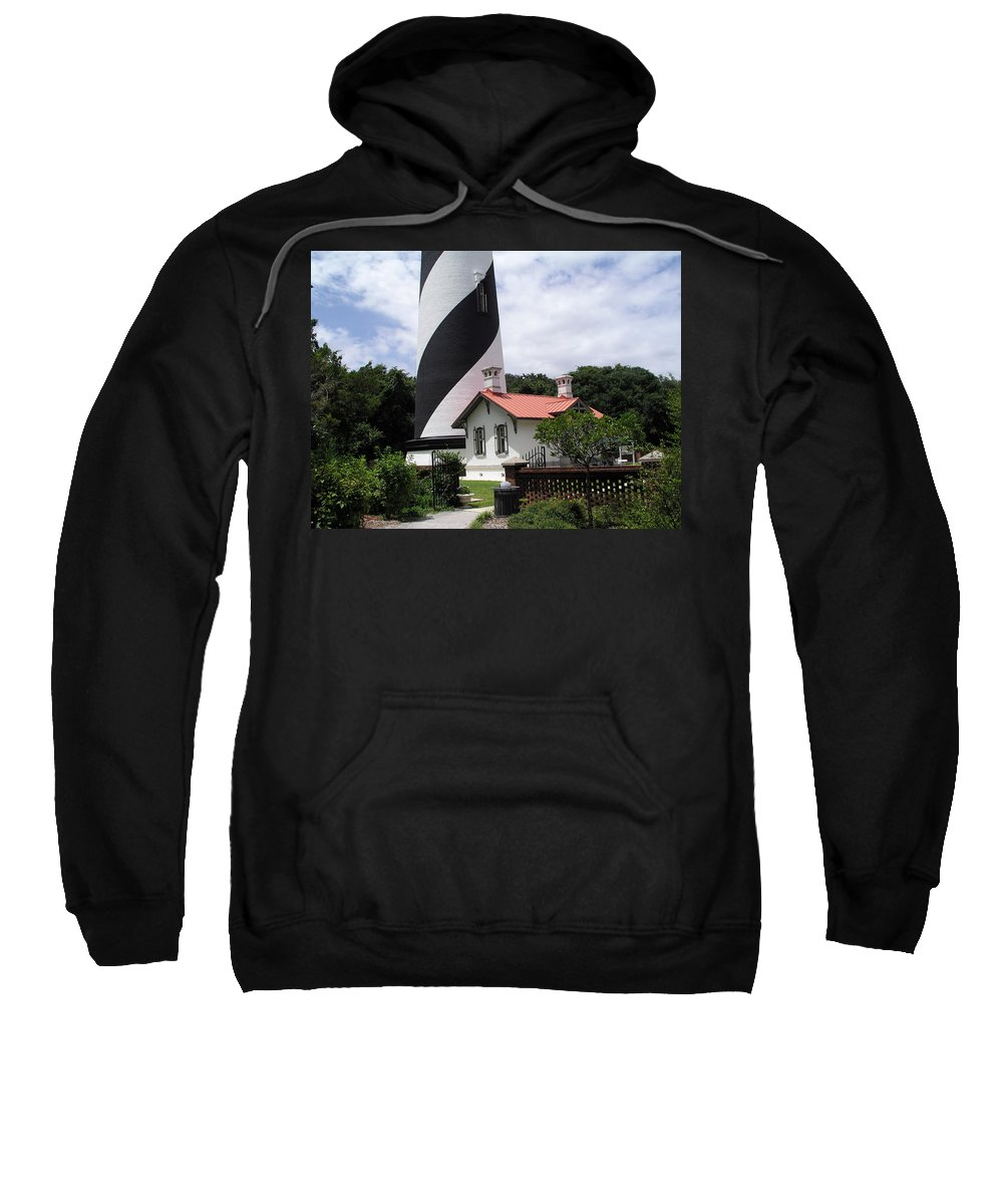 Cottage; Residence; Lighthouse; Light; House; Keeper; St. Augustine; Florida; Coast; Shine; Fog; Sto Sweatshirt featuring the photograph St. Augustine Light On The East Coast Of Florida by Allan Hughes