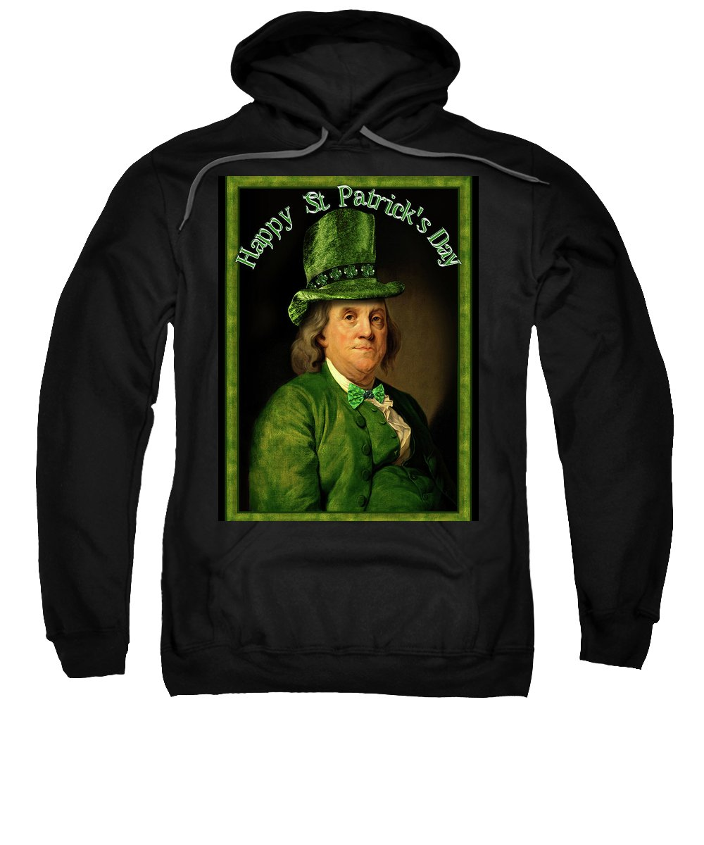 Ben Franklin Sweatshirt featuring the painting St Patrick's Day Ben Franklin by Gravityx9 Designs