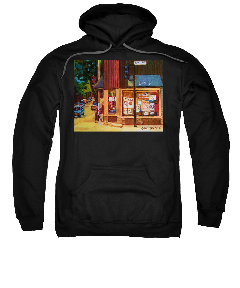 Beautys Sweatshirt featuring the painting St Urbain And Mount Royal by Carole Spandau