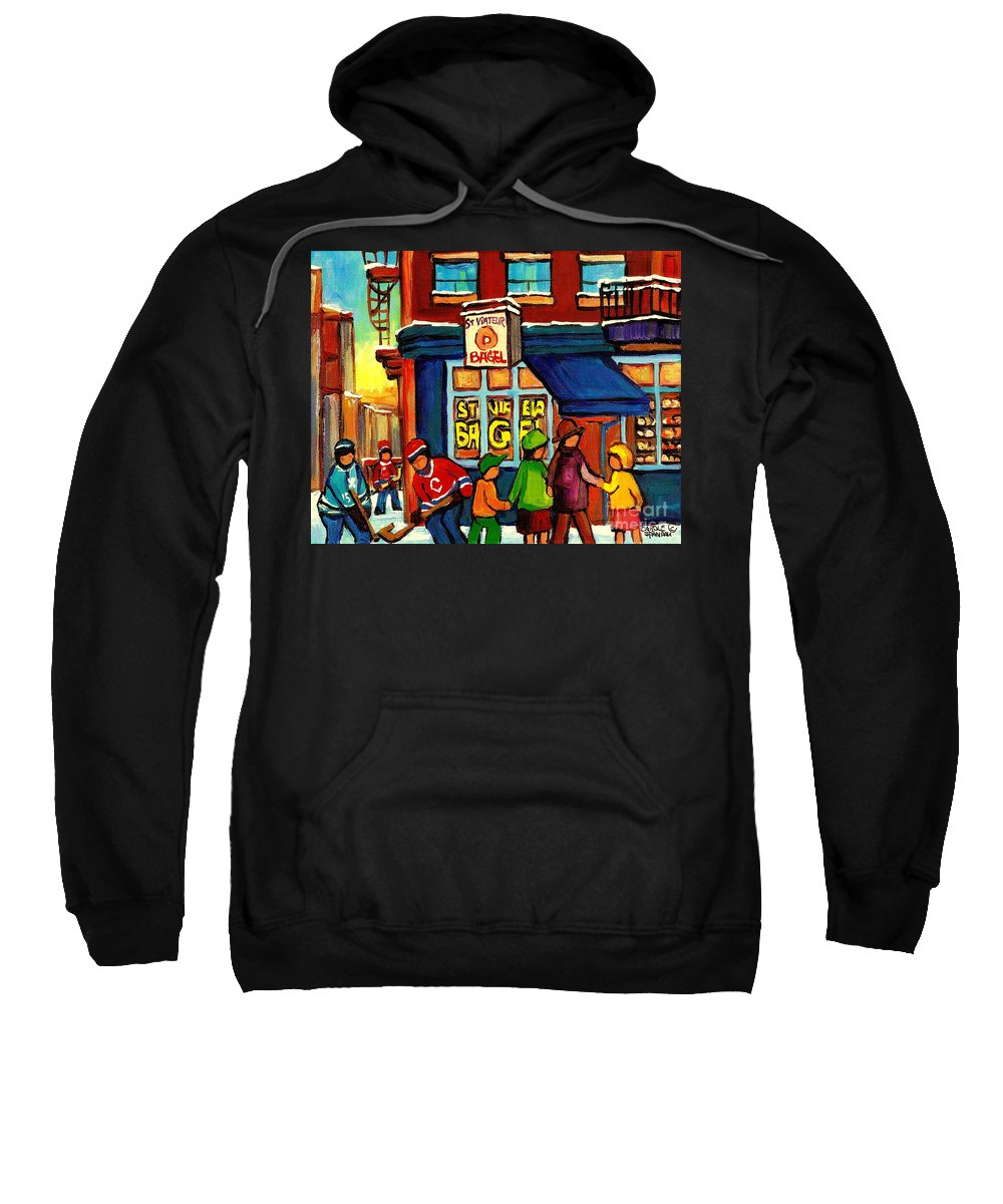 Monteeal Sweatshirt featuring the painting St. Viateur Bagel With Hockey by Carole Spandau