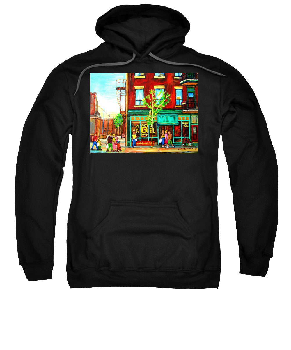 Cityscapes Sweatshirt featuring the painting St. Viateur Bagel With Shoppers by Carole Spandau