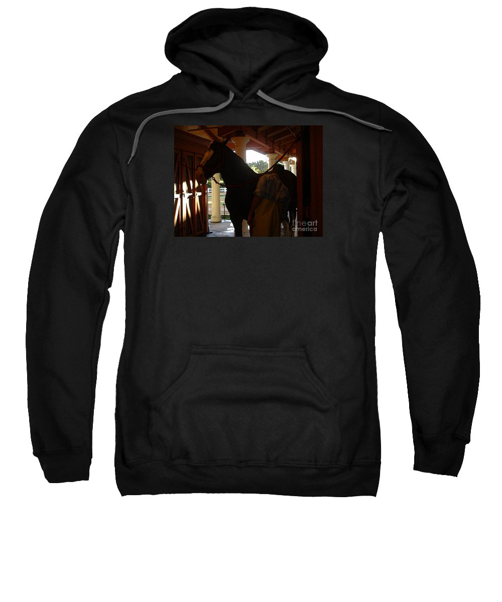 Horses Sweatshirt featuring the photograph Stable Groom - 2 by Linda Shafer