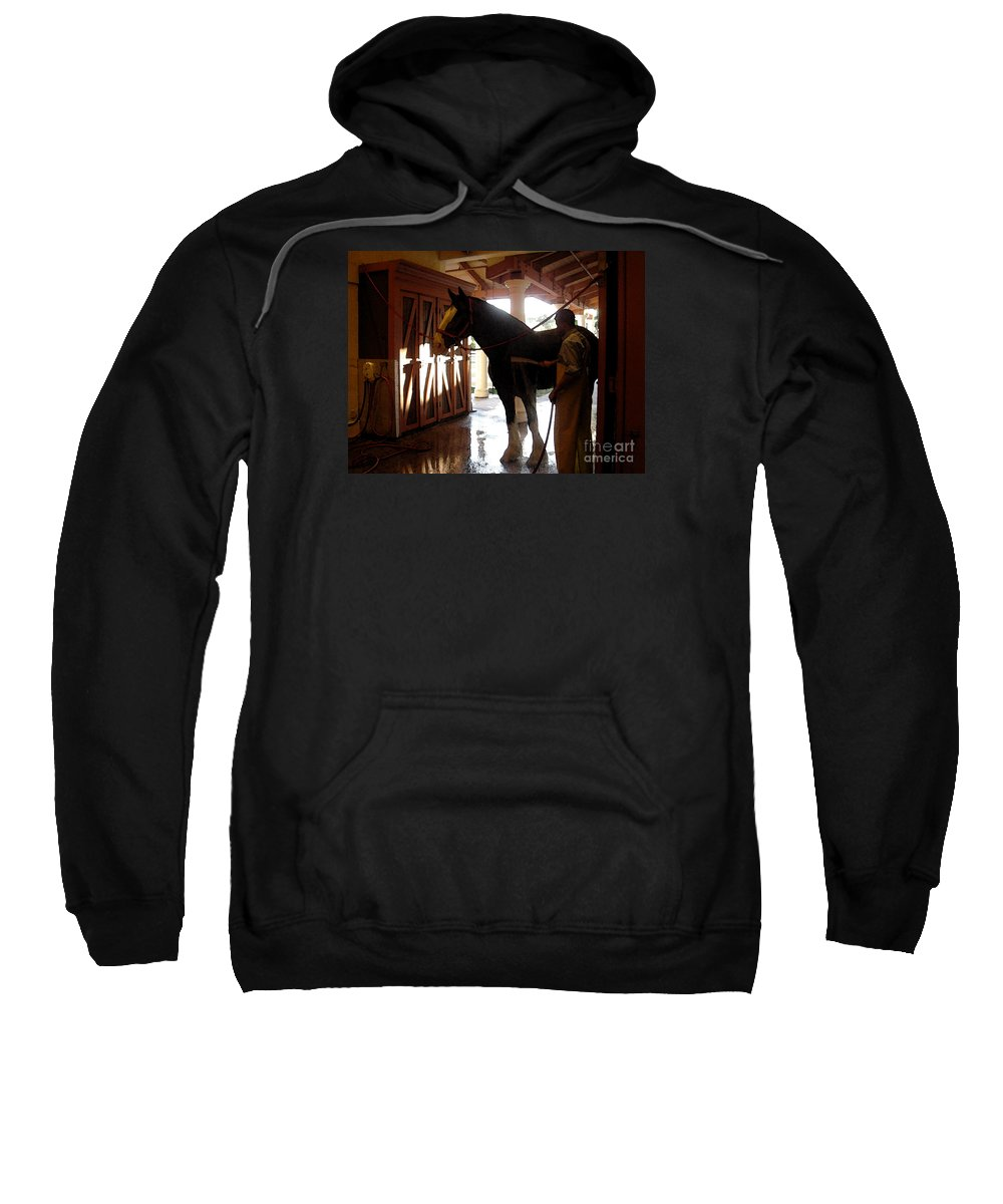 Horse Sweatshirt featuring the photograph Stable Groom - 1 by Linda Shafer