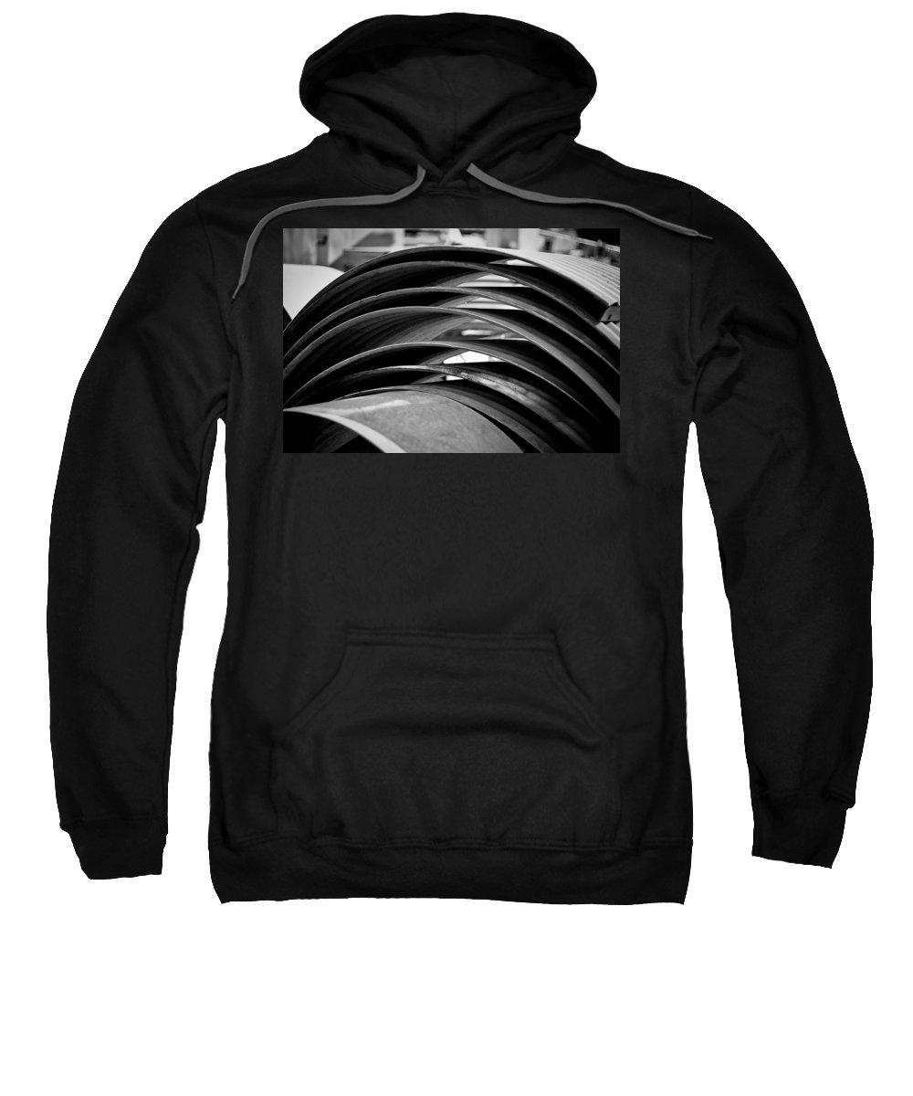 Black And White Photograph Sweatshirt featuring the photograph Stacked by Mike Oistad