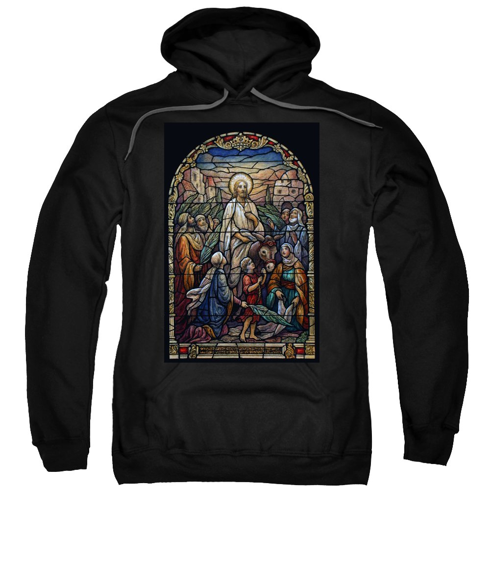 Palm Sweatshirt featuring the photograph Stained Glass - Palm Sunday by Munir Alawi