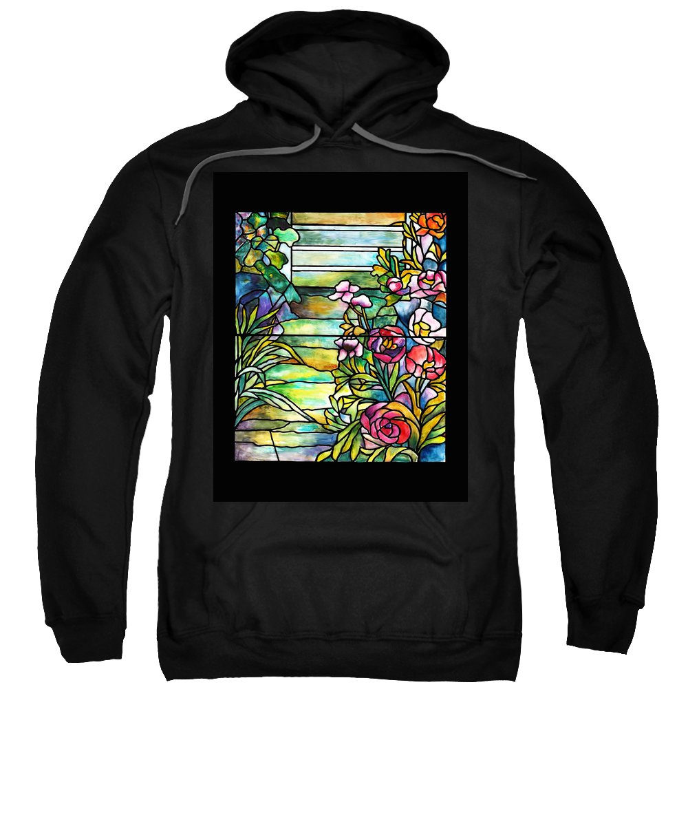Stained Glass Paintings Paintings Sweatshirt featuring the painting Stained Glass Tiffany Robert Mellon House by Donna Walsh
