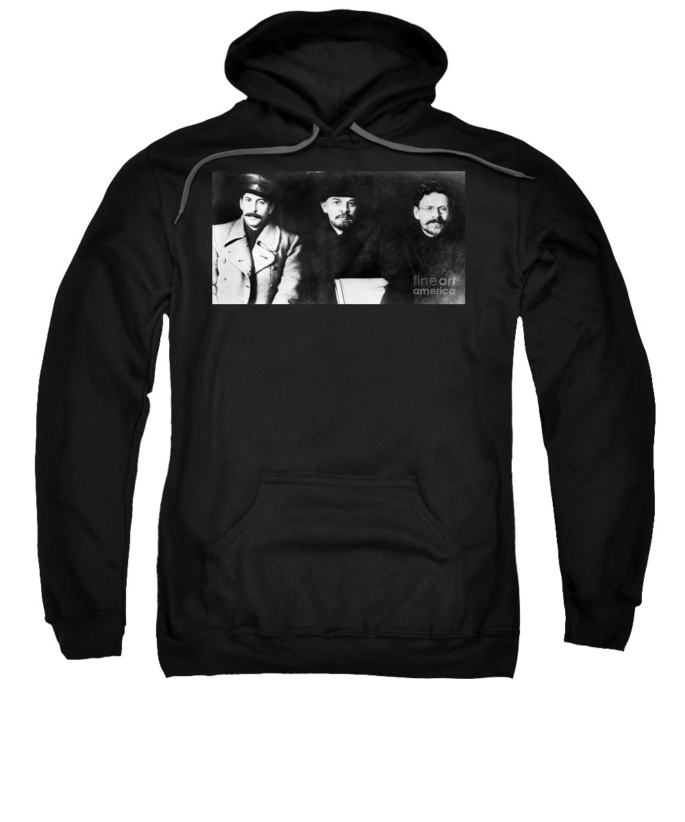 1919 Sweatshirt featuring the photograph Stalin, Lenin & Trotsky by Granger