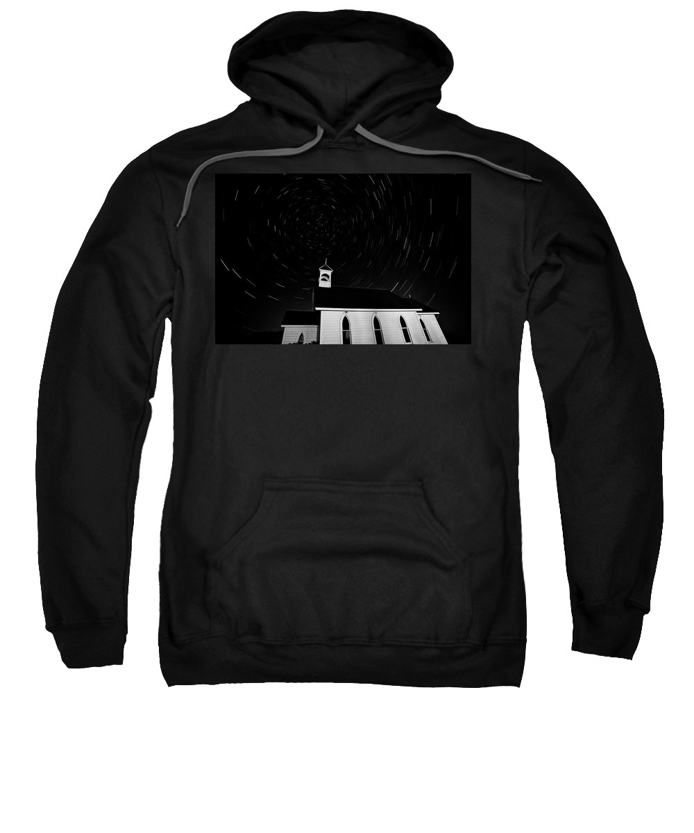 Old Sweatshirt featuring the digital art Star Tracks Over Saint Columba Anglican Country Church by Mark Duffy