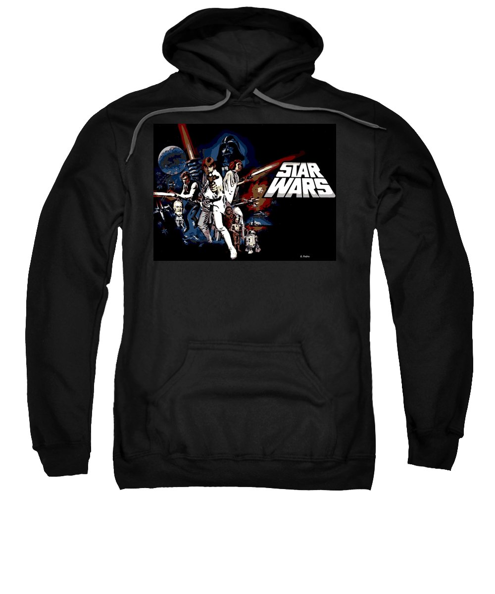 Star Wars Poster Sweatshirt featuring the photograph Star Wars Movie Poster by George Pedro