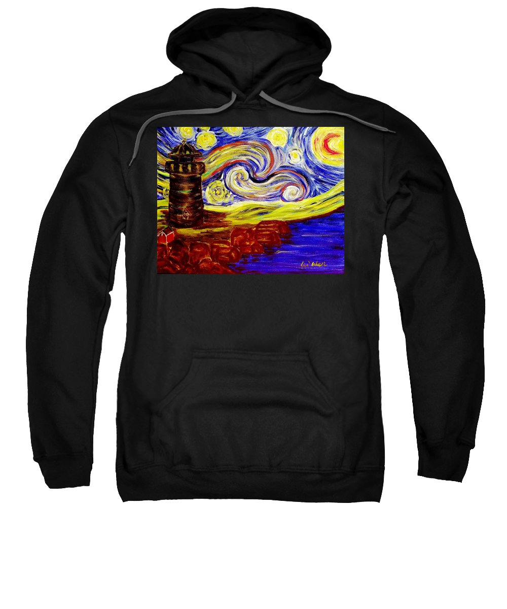 Starry Night Sweatshirt featuring the painting Starry Night Over Nubble Lighthouse by Lei Wen