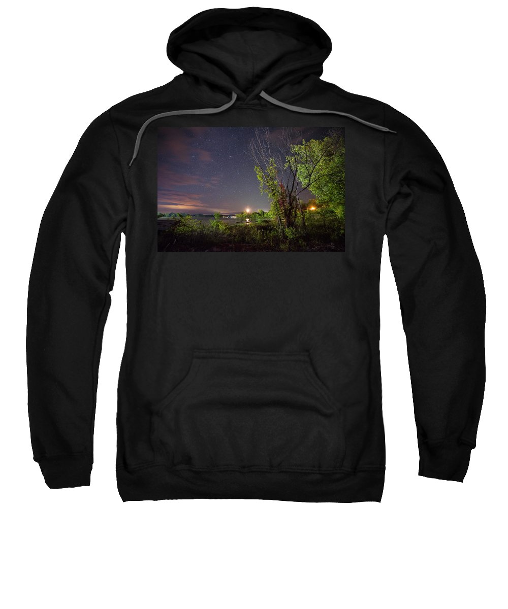 Stars Sweatshirt featuring the photograph Starry Sky Over Lake Champlain New York by Toby McGuire