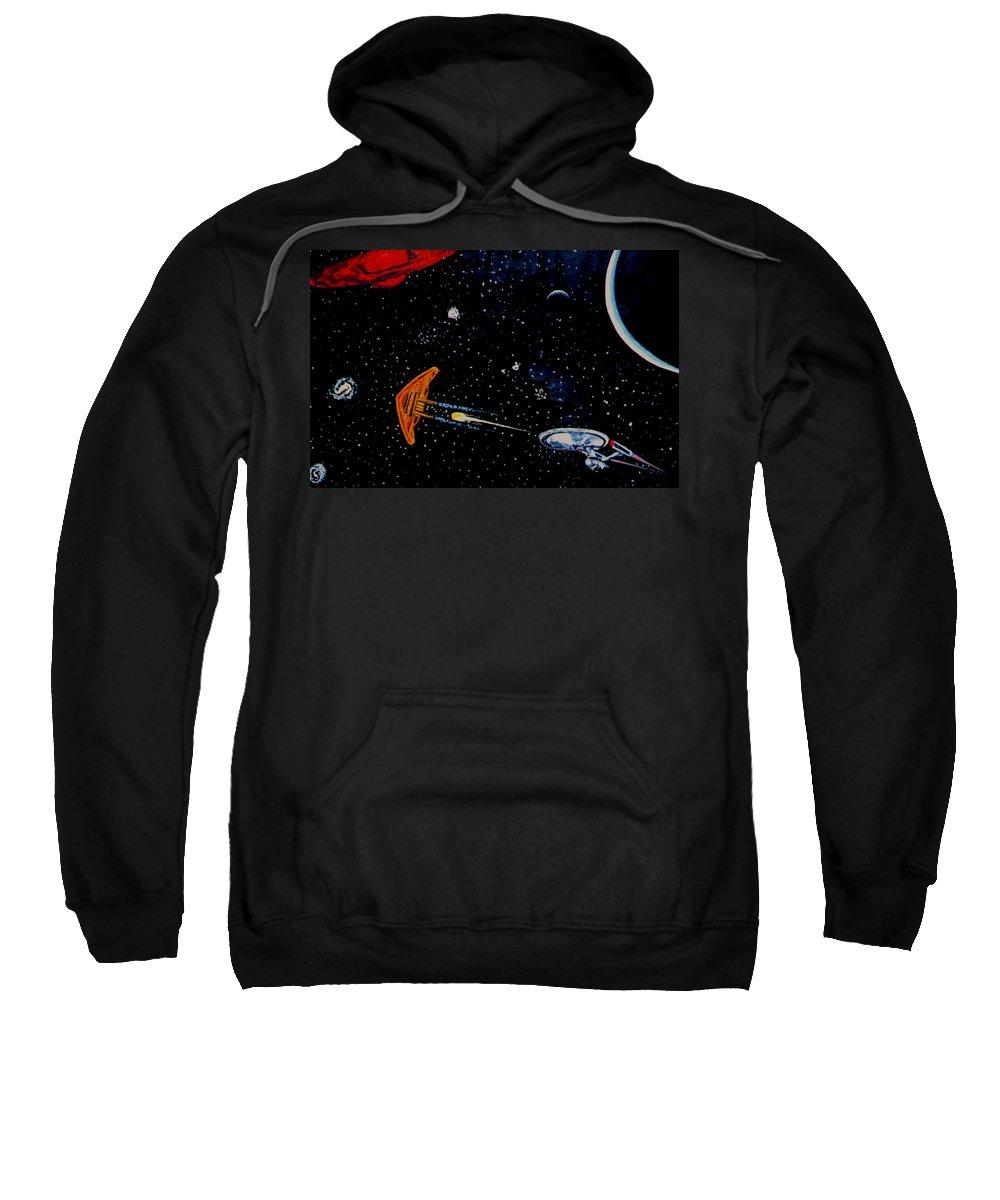 Startrel.scoemce Foxopm.s[ace.[;amets.stars Sweatshirt featuring the painting Startrek by Stan Hamilton