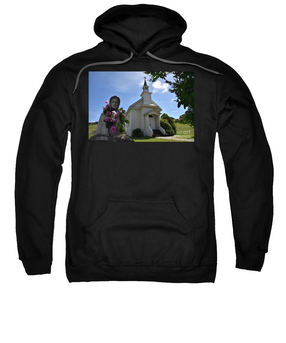 Church Sweatshirt featuring the photograph Statue At St. Mary's Church by Bruce Chevillat