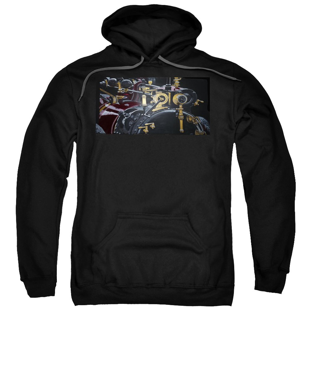Tractor Sweatshirt featuring the painting Steam Tractor by Richard Le Page