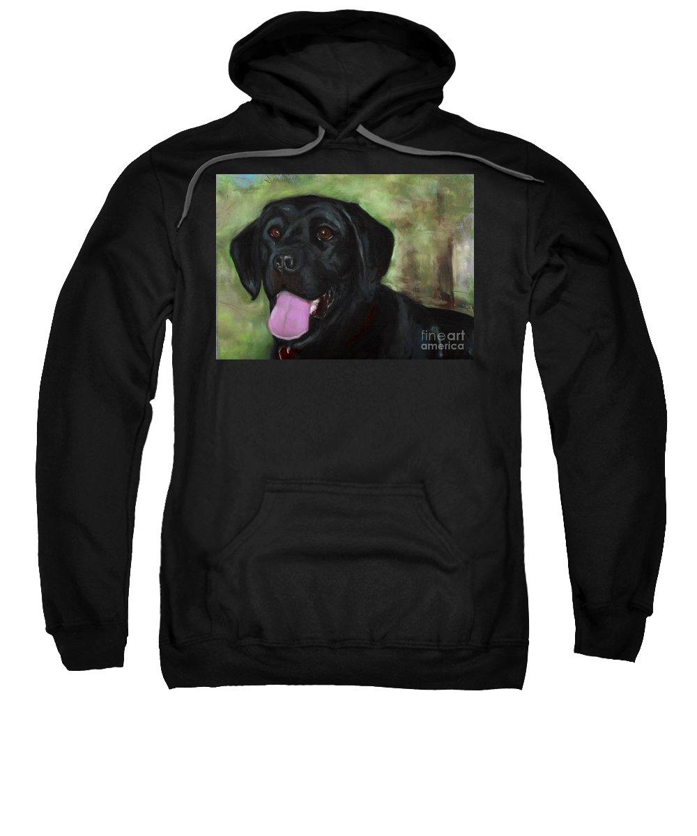 Black Lab Sweatshirt featuring the painting Stella Luna by Frances Marino