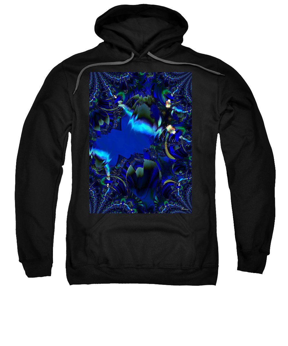 Color Blue Black Busy Woman Digital Drawing Sea Ocean Water Sweatshirt featuring the digital art Steppin Out by Andrea Lawrence