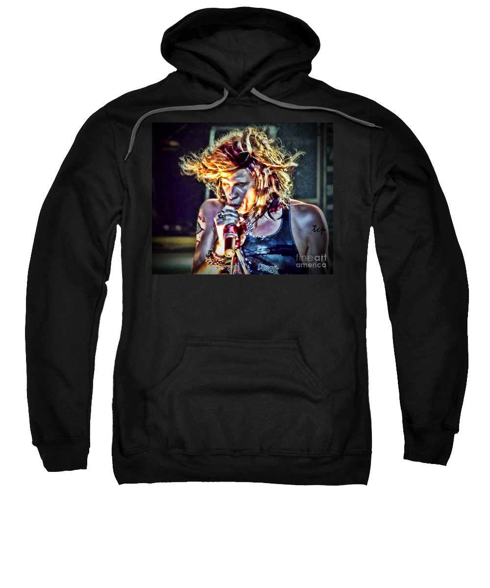 Steven Tyler Sweatshirt featuring the photograph Steven Sings by Traci Cottingham