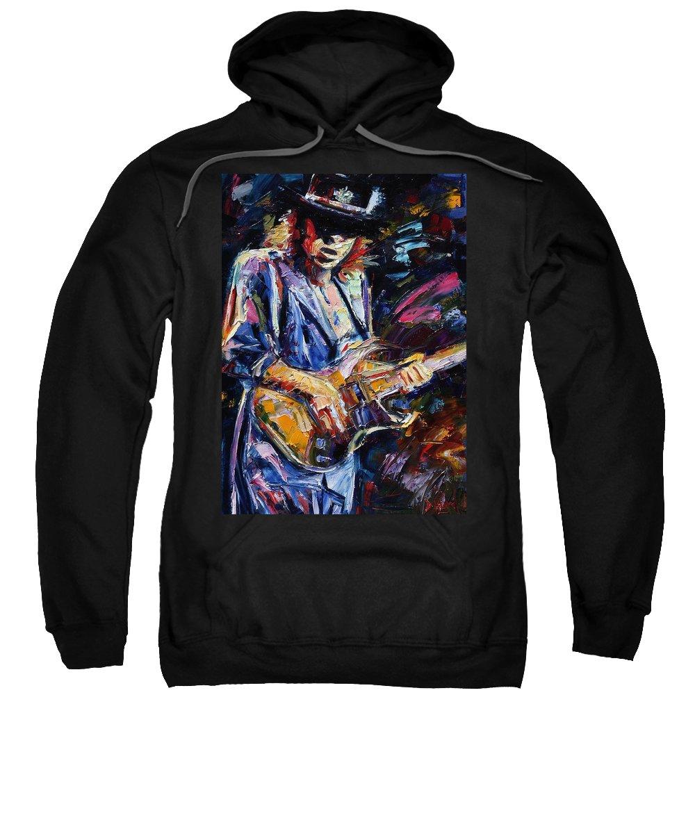 Stevie Ray Vaughan Painting Sweatshirt featuring the painting Stevie Ray Vaughan by Debra Hurd