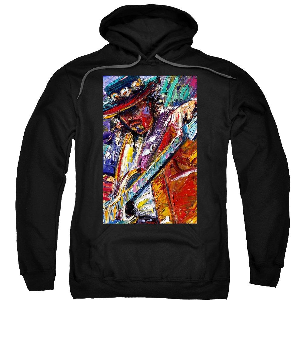 Rock Sweatshirt featuring the painting Stevie Ray Vaughan Number One by Debra Hurd