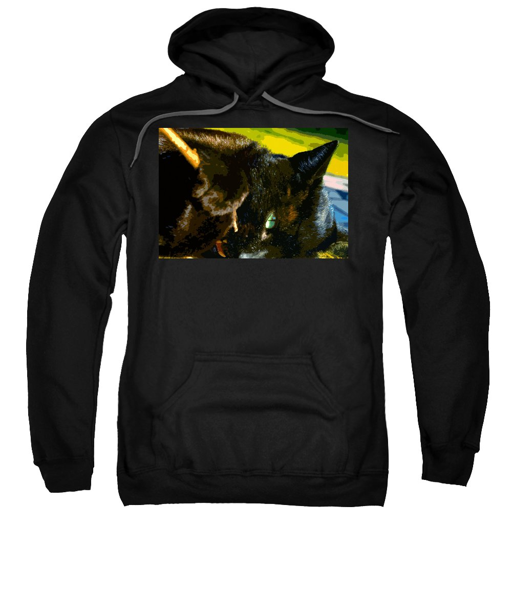 Cat Sweatshirt featuring the painting Stick Play by David Lee Thompson